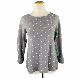 Cynthia Rowley Gray Polka Dot Scoop Neck Sweater